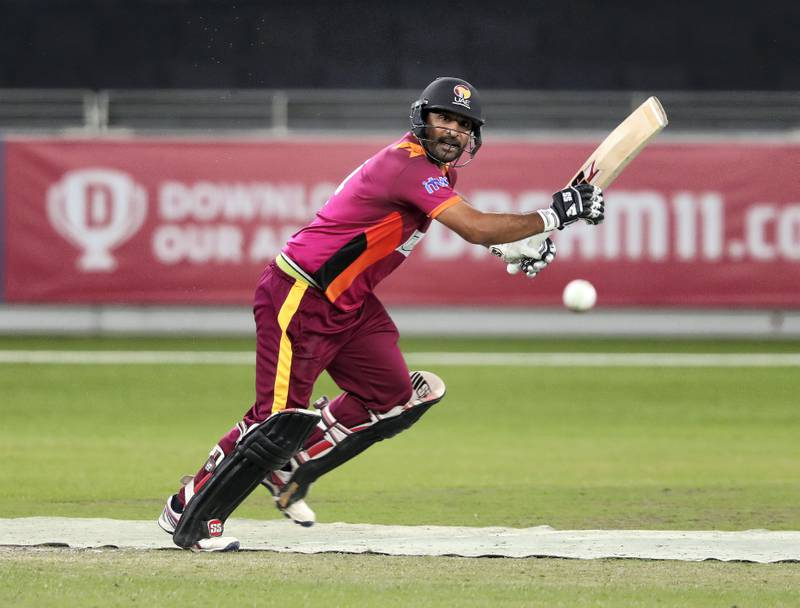 Dubai, United Arab Emirates - December 11, 2020: Cricket. Ajman's Asif Khan in the game between Ajman and ECB Blues in the Emirates D20. Friday, December 11th, 2020 in Dubai. Chris Whiteoak / The National