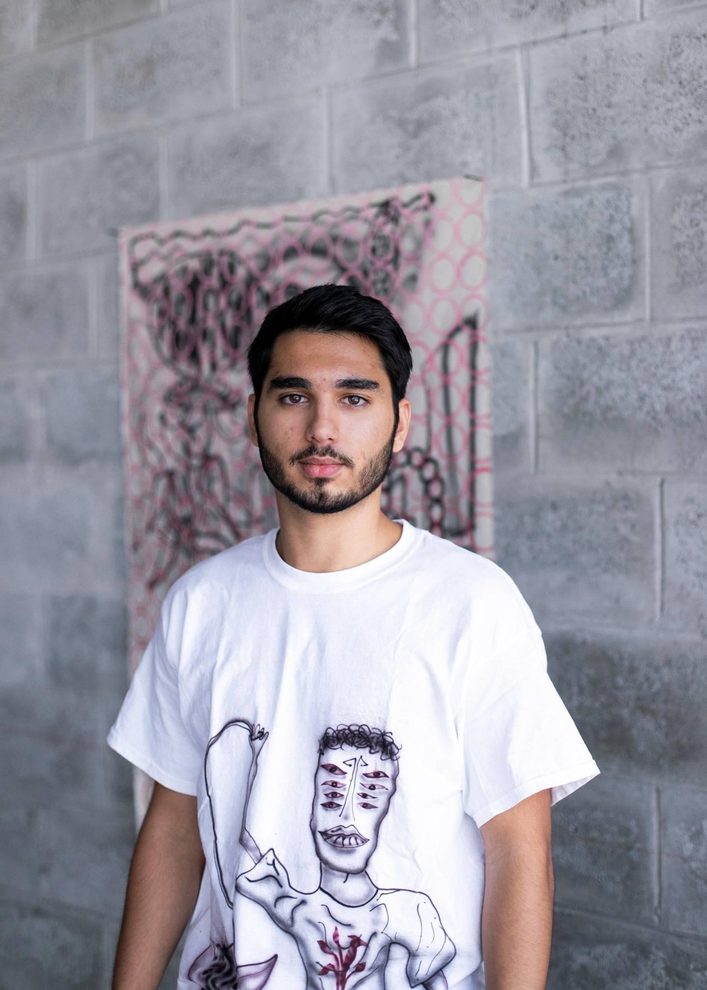 DUBAI, UNITED ARAB EMIRATES. 6 AUGUST 2020. Ziad Al Najjar in his studio space Galleria Mall, Al Barsha.(Photo: Reem Mohammed/The National)Reporter:Section: