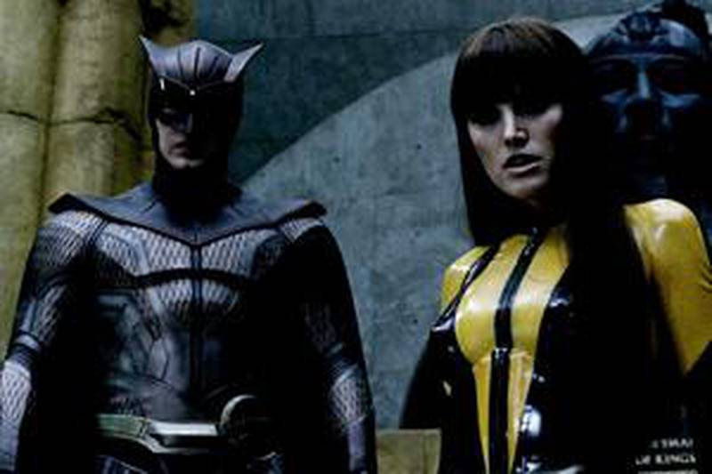 PATRICK WILSON as Nite Owl II, MALIN AKERMAN as Silk Spectre II and JACKIE EARLE HALEY as Rorschach in Warner Bros. PicturesÕ and Paramount PicturesÕ action/sci-fi ÒWatchmen.ÓPHOTOGRAPHS TO BE USED SOLELY FOR ADVERTISING, PROMOTION, PUBLICITY OR REVIEWS OF THIS SPECIFIC MOTION PICTURE AND TO REMAIN THE PROPERTY OF THE STUDIO. NOT FOR SALE OR REDISTRIBUTION.