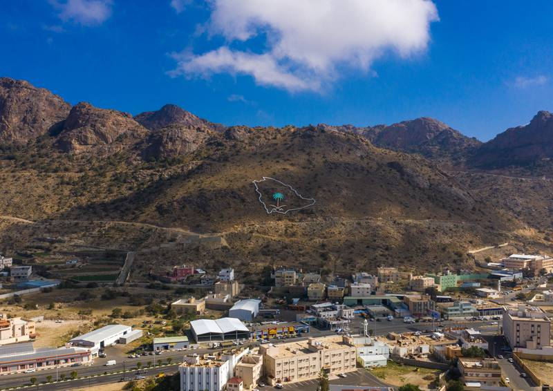 ABHA, SAUDI ARABIA - DECEMBER 11: Aerial view of a Saudi Arabia map on a hill, Asir province, Abha, Saudi Arabia on December 11, 2018 in Abha, Saudi Arabia. (Photo by Eric Lafforgue/Art in All of Us/Corbis via Getty Images)