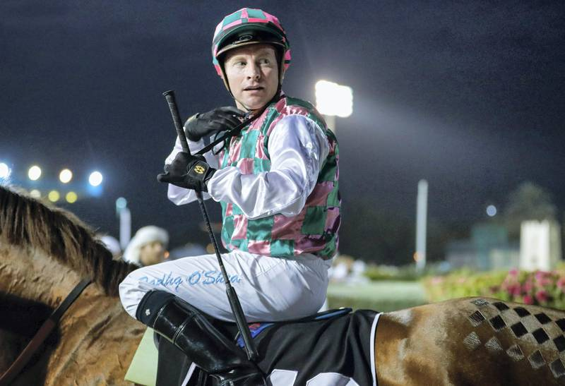 Abu Dhabi, United Arab Emirates, February 9, 2020.  H.H. The President Cup Race Meeting, Abu Dhabi Equestrian Club.  Tadhg O'Shea after taking the win in Group 1, President's Cup for Purebred Arabians. Victor Besa / The NationalSection:  SPReporter:  Amith Passela