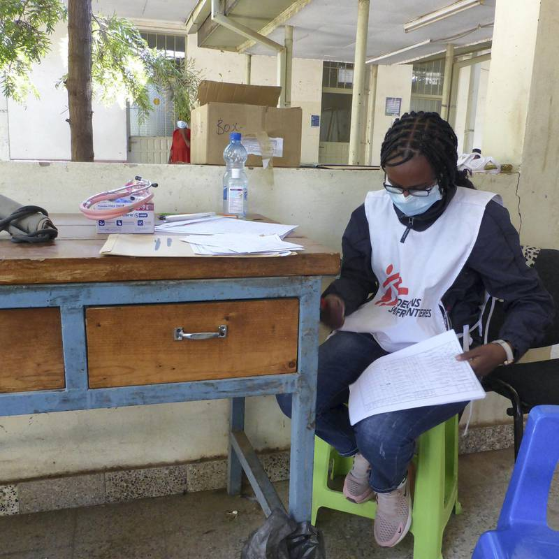 An MSF staff member triages a patient during a mobile clinic at a primary health centre in Edega Hamus, Tigray.