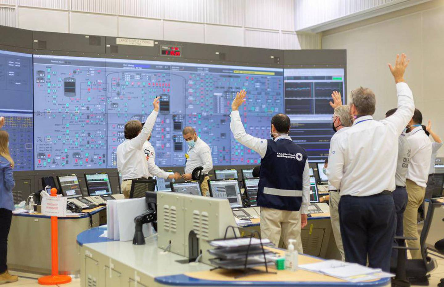 Engineers at the Barakah Nuclear Power Plant Abu Dhabi after the first reactor was turned on. Courtesy: Sheikh Mohammed Twitter