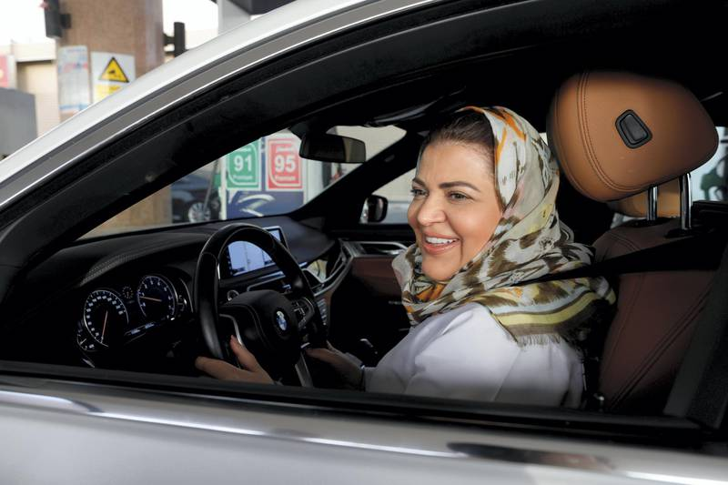 Dr Samira al-Ghamdi, a practicing psychologist, drives her car out in her neighborhood while going to work, in Jeddah, Saudi Arabia June 24, 2018.  REUTERS/Zohra Bensemra     TPX IMAGES OF THE DAY