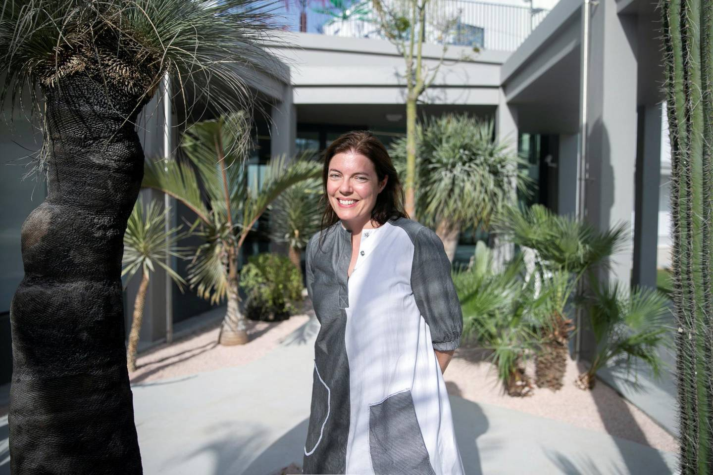 DUBAI, UNITED ARAB EMIRATES - NOVEMBER 7, 2018.   Antonia Carver, Director of Art Jameel.  The Jameel Arts Center is set to open on November 11, Located at the Jaddaf Waterfront,  the multidisciplinary space is dedicated to exhibiting contemporary art and engaging communities through learning, research and commissions. It houses several gallery spaces, an open access library and research centre, project and commissions spaces, a writer's studio, indoor and outdoor event spaces, a roof terrace for film screenings and other events, a bookstore dedicated to arts and culture related publications, a café and a full-service restaurant.  The centre is one of the first independent not-for-profit contemporary arts institutions in the city. It is founded and supported by Art Jameel, an independent organisation that fosters contemporary art practice, cultural heritage protection, and creative entrepreneurship across the Middle East, North Africa and beyond.  (Photo by Reem Mohammed/The National)  Reporter: MELISSA GRONLUND Section:  AC WK