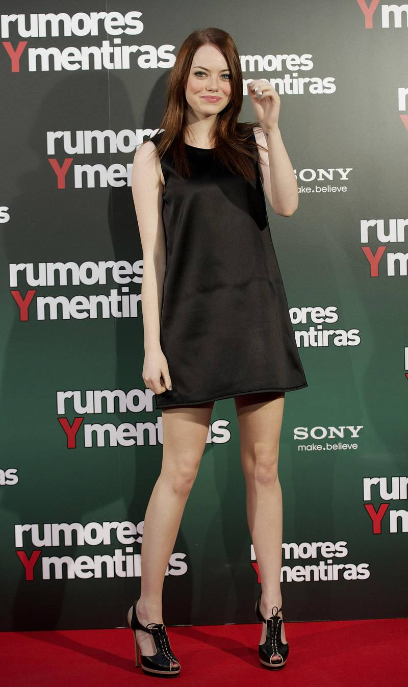 """MADRID, MADRID - OCTOBER 28:  Actress Emma Stone attends """"Rumores y Mentiras"""" (Easy A') photocall at the Hopes Hotel on October 28, 2010 in Madrid, Spain.  (Photo by Carlos Alvarez/Getty Images)"""