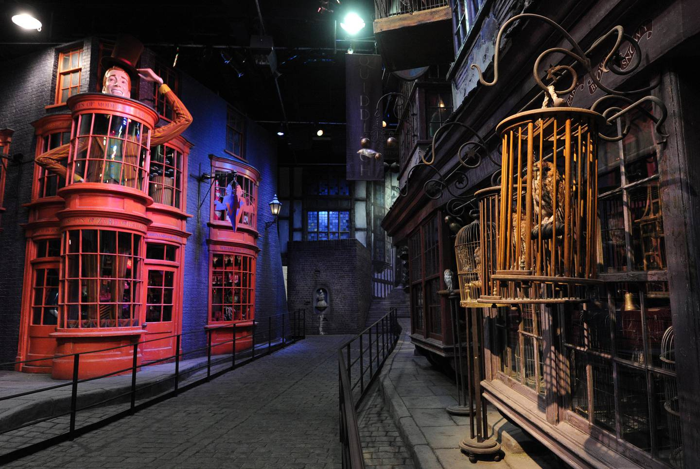 """TO GO WITH AFP STORY BY NATHALIE AURIOLA general view shows the stores that line Diagon Alley during a preview of the Warner Bros Harry Potter studio tour """"The Making of Harry Potter"""" in north London on March 26, 2012. """"The Making of Harry Potter"""", which opens on March 31, is the latest spin-off from the best-selling books about the boy wizard, promising a chance to re-live his adventures with a trip through the set of the blockbuster movies. AFP PHOTO/CARL COURT / AFP PHOTO / CARL COURT"""
