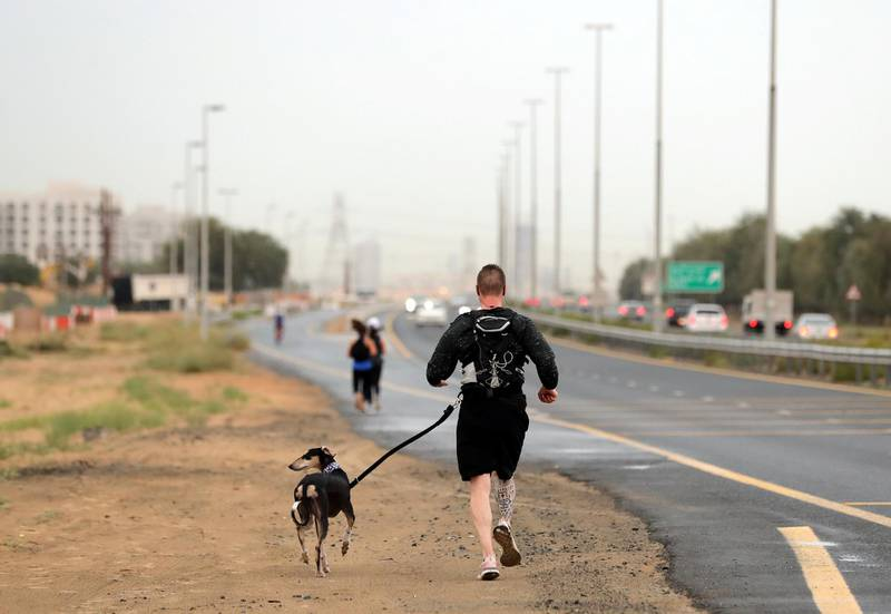 Dubai, United Arab Emirates - Reporter: N/A: Weather. A man walks his dog in the rain near Town Square. Thursday, March 21st, 2020. Town Square, Dubai. Chris Whiteoak / The National