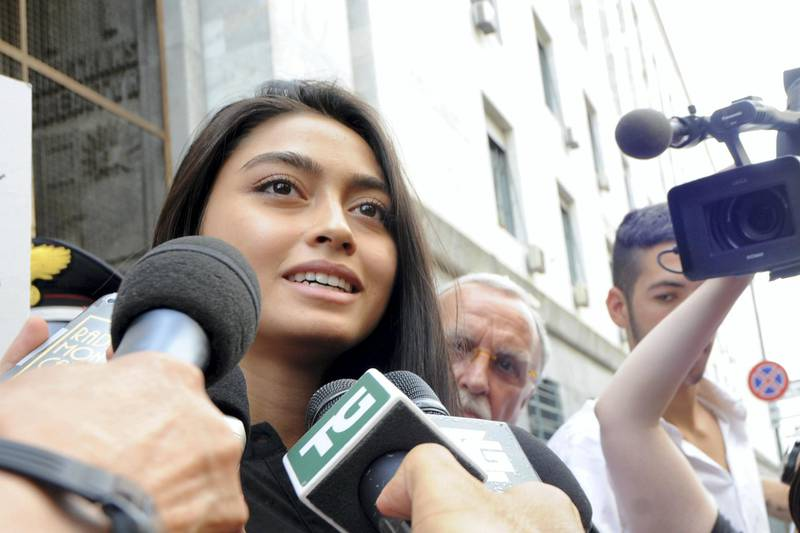 MILAN, ITALY - JULY 19:  Ambra Battilana speaks to waiting media outside the courthouse after the verdicts in the 'Ruby bis' case on July 19, 2013 in Milan, Italy. Nicole Minetti, Emilio Fede and Lele Mora were found guilty of aiding and abetting in the procurement of prostititutes for 'bunga bunga' parties held by former Italian prime minister Silvio Berlusconi. (Photo by Pier Marco Tacca/Getty Images)