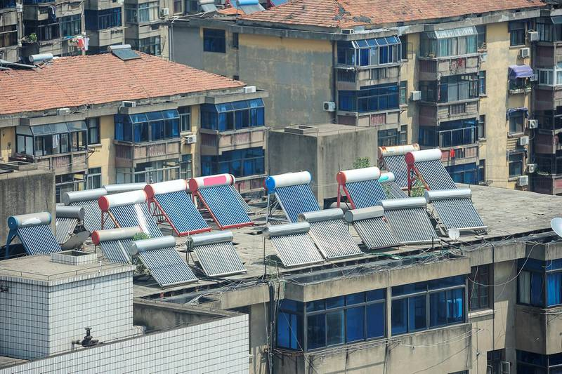 roof with solar panels in Shanghai, China
