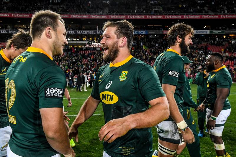JOHANNESBURG, SOUTH AFRICA - JULY 20:  Frans Steyn of the Springboks and Andre Esterhuizen of the Springboks smile after their win during the The Rugby Championship match between South Africa and Australia at Emirates Airline Park on July 20, 2019 in Johannesburg, South Africa. (Photo by Sydney Seshibedi/Gallo Images/Getty Images