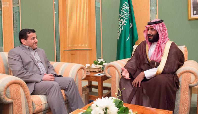 Crown Prince Mohammed bin Salman holds talks with Iraqi Interior Minister Qasim Al-Araji in Jeddah on Tuesday. SPA