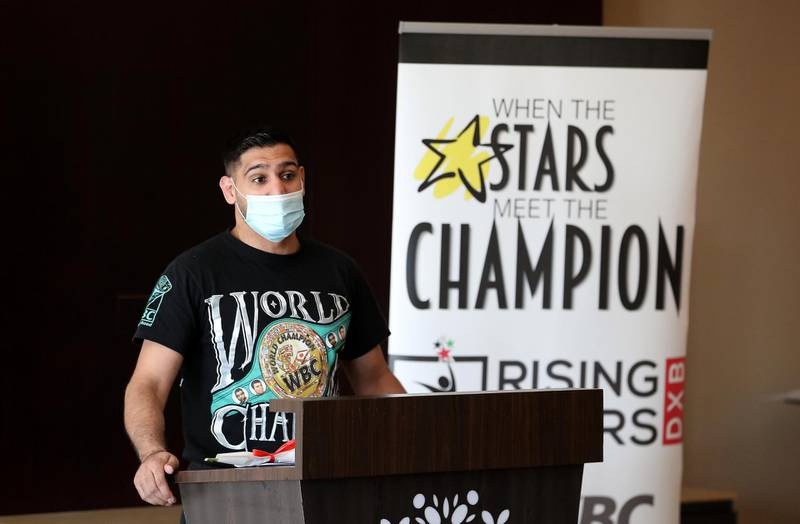 DUBAI, UNITED ARAB EMIRATES , December 28 – 2020 :- Amir Khan, British professional boxer speaking during the Rising Stars (people with determination) event held at the Fairmont The Palm hotel on Palm Jumeirah in Dubai. ( Pawan Singh / The National ) For News/Online/Instagram. Story by Kelly