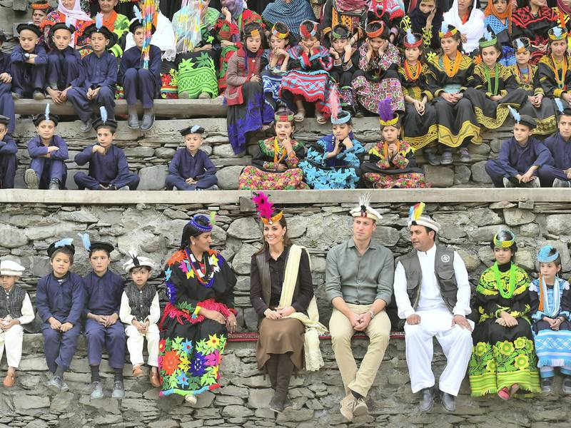 CHITRAL, PAKISTAN - OCTOBER 16: Prince William, Duke of Cambridge and Catherine, Duchess of Cambridge visit a settlement of the Kalash people, to learn more about their culture and unique heritage, on October 16, 2019 in Chitral, Pakistan. Their Royal Highnesses The Duke and Duchess of Cambridge are on a visit of Pakistan between 14-18th October at the request of the Foreign and Commonwealth Office. (Photo by Samir Hussein - Pool/Getty Images)