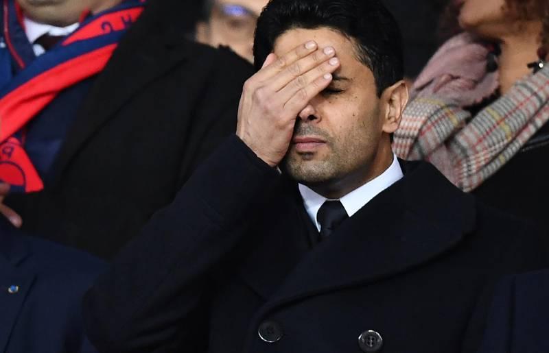 Paris Saint-Germain's Qatari president Nasser Al-Khelaifi reacts  during the UEFA Champions League round of 16 second leg football match between Paris Saint-Germain (PSG) and Real Madrid on March 6, 2018, at the Parc des Princes stadium in Paris. / AFP PHOTO / FRANCK FIFE