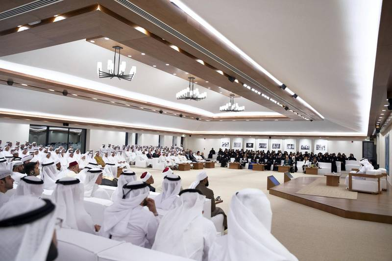 """ABU DHABI, UNITED ARAB EMIRATES - May 15, 2019: Guests attend a panel discussion titled: """"The Manipulation of Religious texts by Extremists"""", at Majlis Mohamed bin Zayed.   ( Hamad Al Mansouri for the Ministry of Presidential Affairs ) ---"""