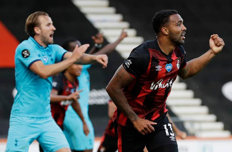 """Soccer Football - Premier League - AFC Bournemouth v Tottenham Hotspur - Vitality Stadium, Bournemouth, Britain - July 9, 2020 Bournemouth's Callum Wilson celebrates scoring a goal that is later disallowed after a VAR review, as play resumes behind closed doors following the outbreak of the coronavirus disease (COVID-19)  Matt Dunham/Pool via REUTERS  EDITORIAL USE ONLY. No use with unauthorized audio, video, data, fixture lists, club/league logos or """"live"""" services. Online in-match use limited to 75 images, no video emulation. No use in betting, games or single club/league/player publications.  Please contact your account representative for further details."""