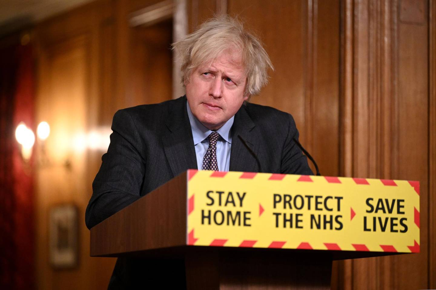 LONDON, ENGLAND - FEBRUARY 22: British Prime Minister Boris Johnson during a televised press conference at 10 Downing Street on February 22, 2021 in London, England. The prime minister announced a phased exit from the country's current lockdown measures, imposed before Christmas to curb a surge in covid-19 cases. (Photo by Leon Neal - WPA Pool/Getty Images)