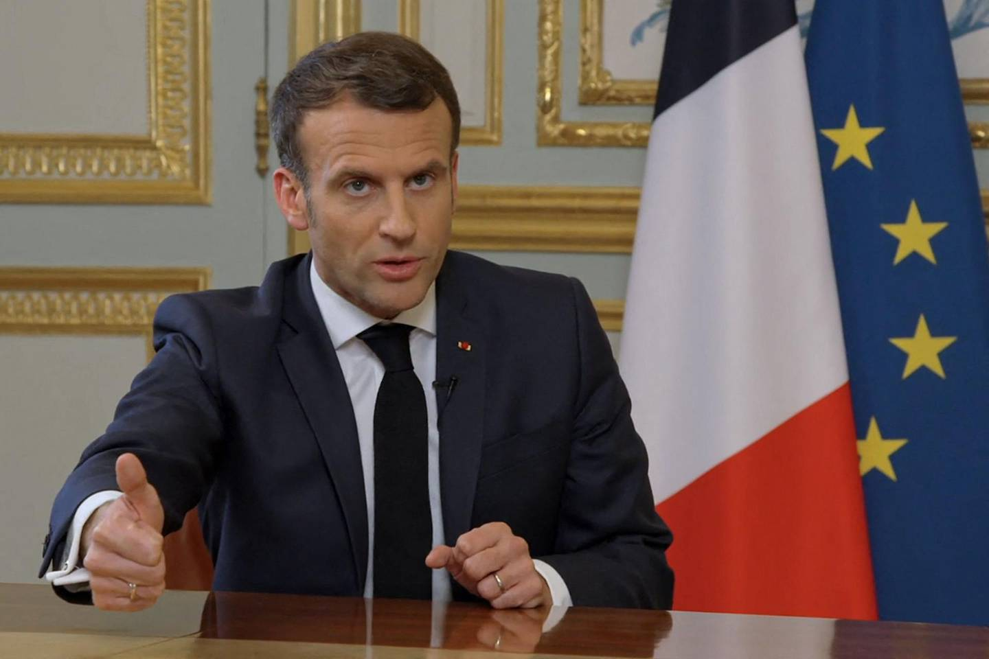 """French President Emmanuel Macron gives an interview at the Elysee Palace in Paris on March 23, 2021 to the show """"C Dans l'Air"""" on the French tv channel France 5 ahead of the broadcast of a documentary on France's diplomatic relations with Turkey.  / AFP / France 5 / -"""