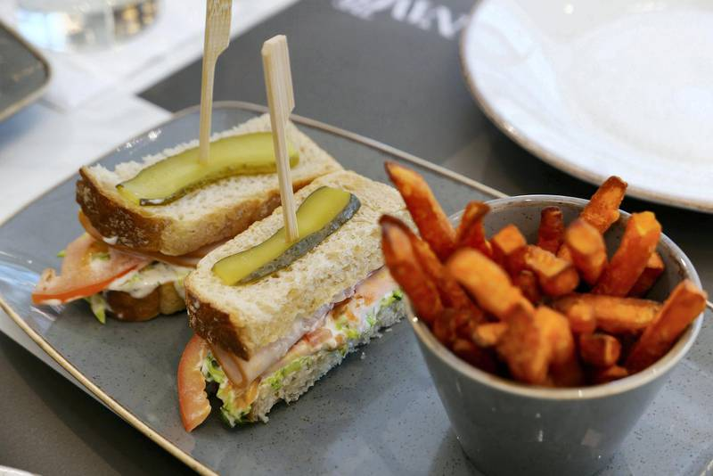 Turkey sandwich at The Name concept store and a resto café at Dubai Design District in Dubai on June 23,2021. Pawan Singh / The National. Story by Janice Rodrigues