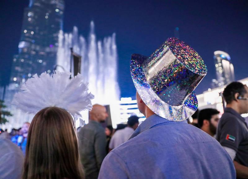 Dubai, U.A.E. .   December 31, 2018.   New Years' Eve celebrations before the fireworks at The Burj Khalifa and Downtown Dubai area.Victor Besa / The NationalSection:  NAReporter: