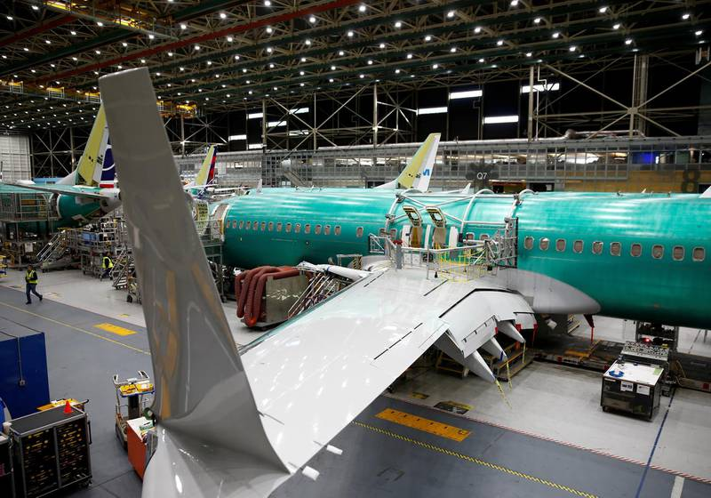 FILE PHOTO: FILE PHOTO: A 737 Max aircraft is pictured at the Boeing factory in Renton, Washington, U.S., March 27, 2019.  REUTERS/Lindsey Wasson/File Photo