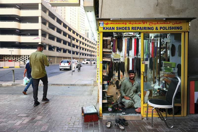 Khan shoes shop in Deira Dubai during the evening on April 21, 2021. Pawan Singh / The National. Story by Sarwat Nasir