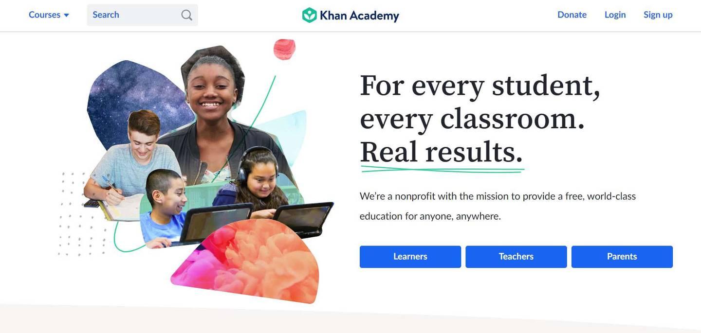 A screenshot of the website of Khan Academy.