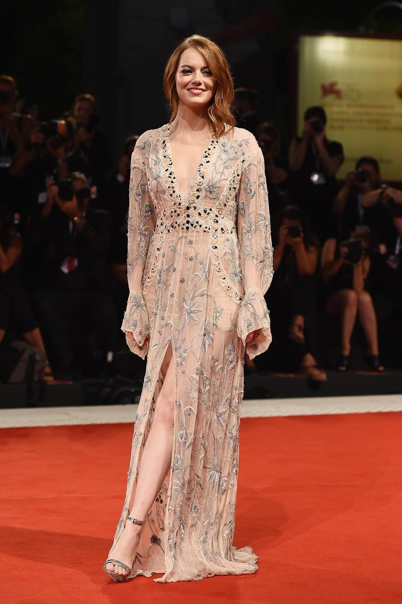 VENICE, ITALY - AUGUST 30:  Emma Stone walks the red carpet ahead of the 'The Favourite' screening during the 75th Venice Film Festival at Sala Grande on August 30, 2018 in Venice, Italy.  (Photo by Stefania D'Alessandro/WireImage)