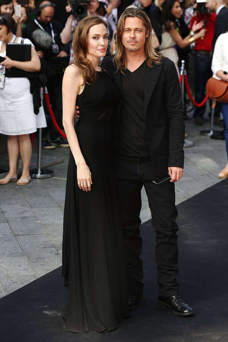 LONDON, ENGLAND - JUNE 02:  Angelina Jolie and Brad Pitt attends the World Premiere of 'World War Z' at The Empire Cinema on June 2, 2013 in London, England.  (Photo by Tim P. Whitby/Getty Images)