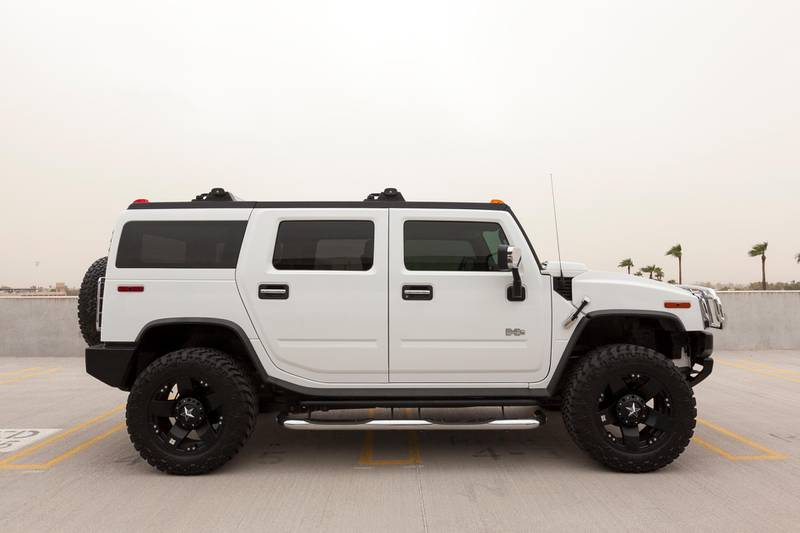 Scottsdale, United States - October 4, 2011:  A photo of a parked Hummer H2. The H2 is the predecessor to the well known military used Hummer H1.
