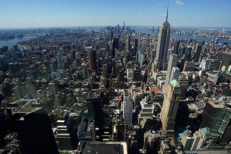 Midtown South Manhattan is pictured from the observation deck of the still under construction One Vanderbilt tower in the Manhattan borough of New York City, New York, U.S., May 11, 2021. Picture taken through a window.  REUTERS/Carlo Allegri