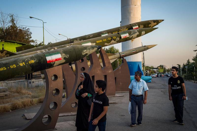 Visitors look at a missile display at a military museum in Tehran, Iran, on Tuesday, Sept. 17. 2019. Iranian Foreign MinisterMohammad Javad Zarifrefused to rule out military conflict in the Middle East after the U.S. sent more troops and weapons to Saudi Arabia in response to an attack on oil fields the U.S. has blamed on the Islamic Republic. Photographer: Ali Mohammadi/Bloomberg