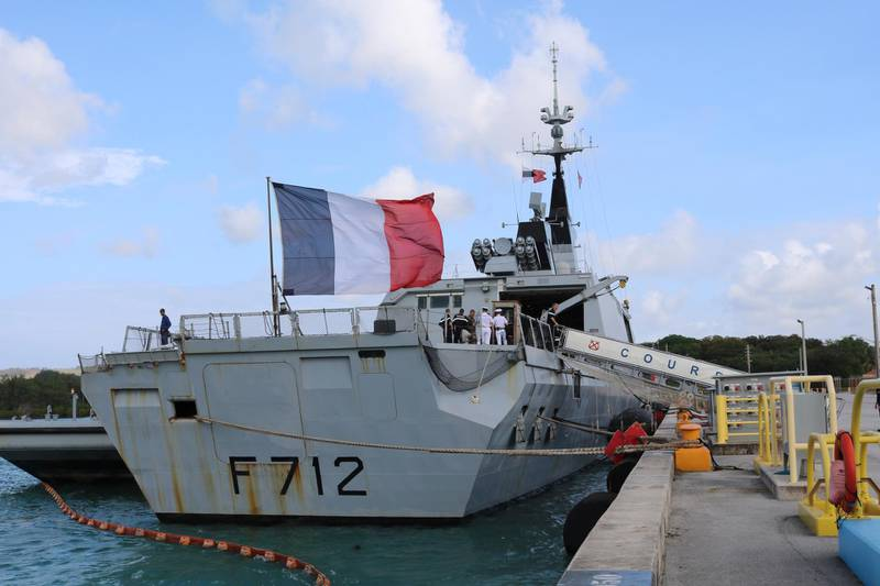 FILE - In this May 11 2017 file photo, the French stealth frigate Courbet is docked at Naval Base Guam, near Hagatna, Guam. rance is suspending its involvement in a NATO naval operation of Libya's coast after a standoff with a Turkish ship and amid growing tensions within the military alliance over Libya. France is also calling for crisis mechanism to prevent a repeat of an incident earlier this month between Turkish warships and the French naval vessel Courbet in the Mediterranean. (AP Photo/Haven Daley)