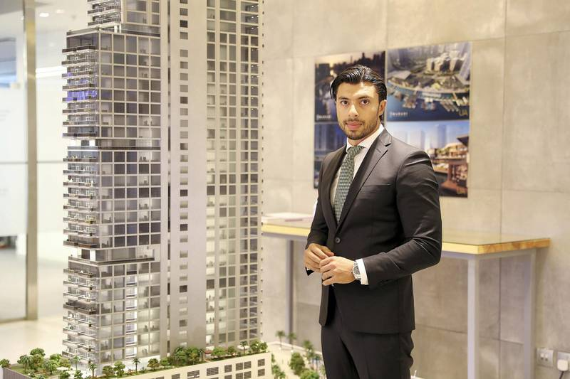 DUBAI , UNITED ARAB EMIRATES , APRIL 29  – 2018 :- Firas Al Msaddi , founder of Fam Properties at his office in Bay Square in Business Bay area in Dubai. ( Pawan Singh / The National ) For Business. Story by David Dunn