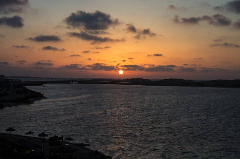 Photos of sunsets in the city of Marsa Matrouh in Egypt. Marsa Matrouh coastal cities one month, which goes to it a lot in the summer to spend a vacation in the beautiful faces (Photo by Fayed El-Geziry /NurPhoto) (Photo by NurPhoto/NurPhoto via Getty Images)