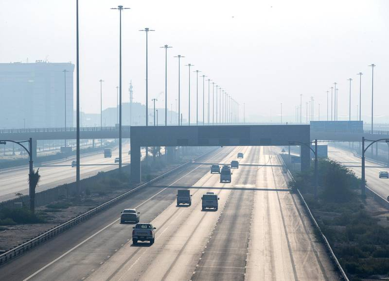 Foggy weather along the E10 highway in Abu Dhabi on June 4th, 2021. Victor Besa / The National.