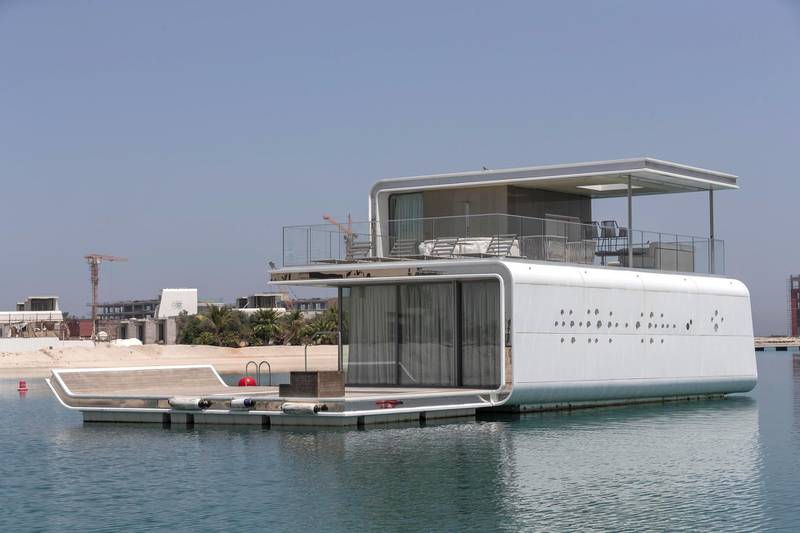 DUBAI, UNITED ARAB EMIRATES. 18 MAY 2020. The Heart of Europe project located on the World Islands of the coast of Dubai is progressing amidst the Covid-19 pandemic and is planning to sell units in the coming months to be delivered in October 2020. Construction and fit out on the Seahorse floaring villas.(Photo: Antonie Robertson/The National) Journalist: Patrick Ryan. Section: National.