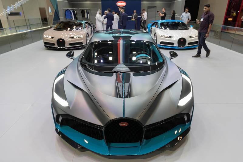DUBAI, UNITED ARAB EMIRATES. 12 November 2019. Bugatti at the Dubai Motor Show opening day. (Photo: Antonie Robertson/The National) Journalist: Nic Webster. Section: National.