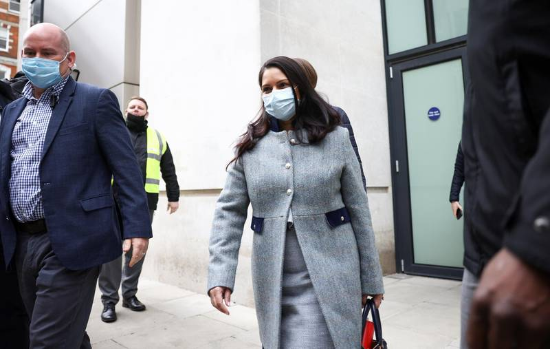 Britain's Home Secretary Priti Patel leaves the BBC headquarters after appearing on The Andrew Marr Show, in London, Britain, May 23, 2021. REUTERS/Henry Nicholls