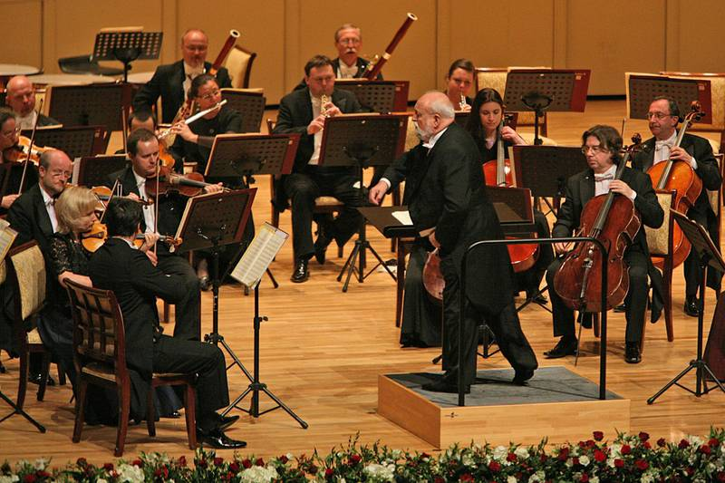 United Arab Emirates - Dubai - March 20, 2010:  NATIONAL: Krzysztof Penderecki conducts the National Polish Radio Symphony Orchestra during the opening gala of the Abu Dhabi Festival at Emirates Palace in Abu Dhabi on Saturday, March 20, 2010. Amy Leang/The National