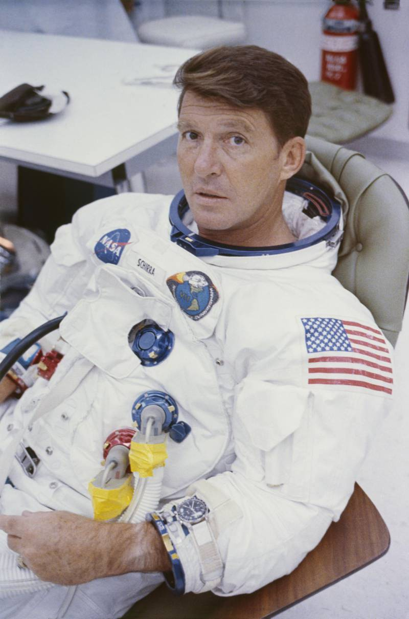 Apollo 7 Astronaut Walter Schirra has his spacesuit adjusted before entering the spacecraft for simulated altitude runs in the altitude chamber at Kennedy Space Center, Florida, 26th July 1968.  (Photo by Space Frontiers/Getty Images)