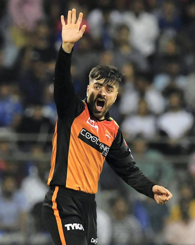 Sunrisers Hyderabad cricketer Rashid Khan appeals unsuccessfully during the 2019 Indian Premier League (IPL) Twenty20 cricket match between Mumbai Indians and Sunrisers Hyderabad at the The Wankhede Stadium cricket stadium in Mumbai on May 2, 2019. (Photo by Indranil MUKHERJEE / AFP) / ----IMAGE RESTRICTED TO EDITORIAL USE - STRICTLY NO COMMERCIAL USE----- / GETTYOUT