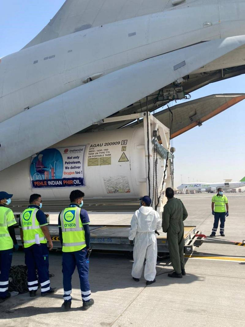 IAF's IL-76 aircraft has airlifted 3 empty cryogenic containers from Jamnagar to Al Maktoum, Dubai. Indian Oil Corporation Ltd has coordinated for these containers which will be filled up with Liquid Medical Oxygen at Dubai and brought back by ship to India. India Ministry of Defence