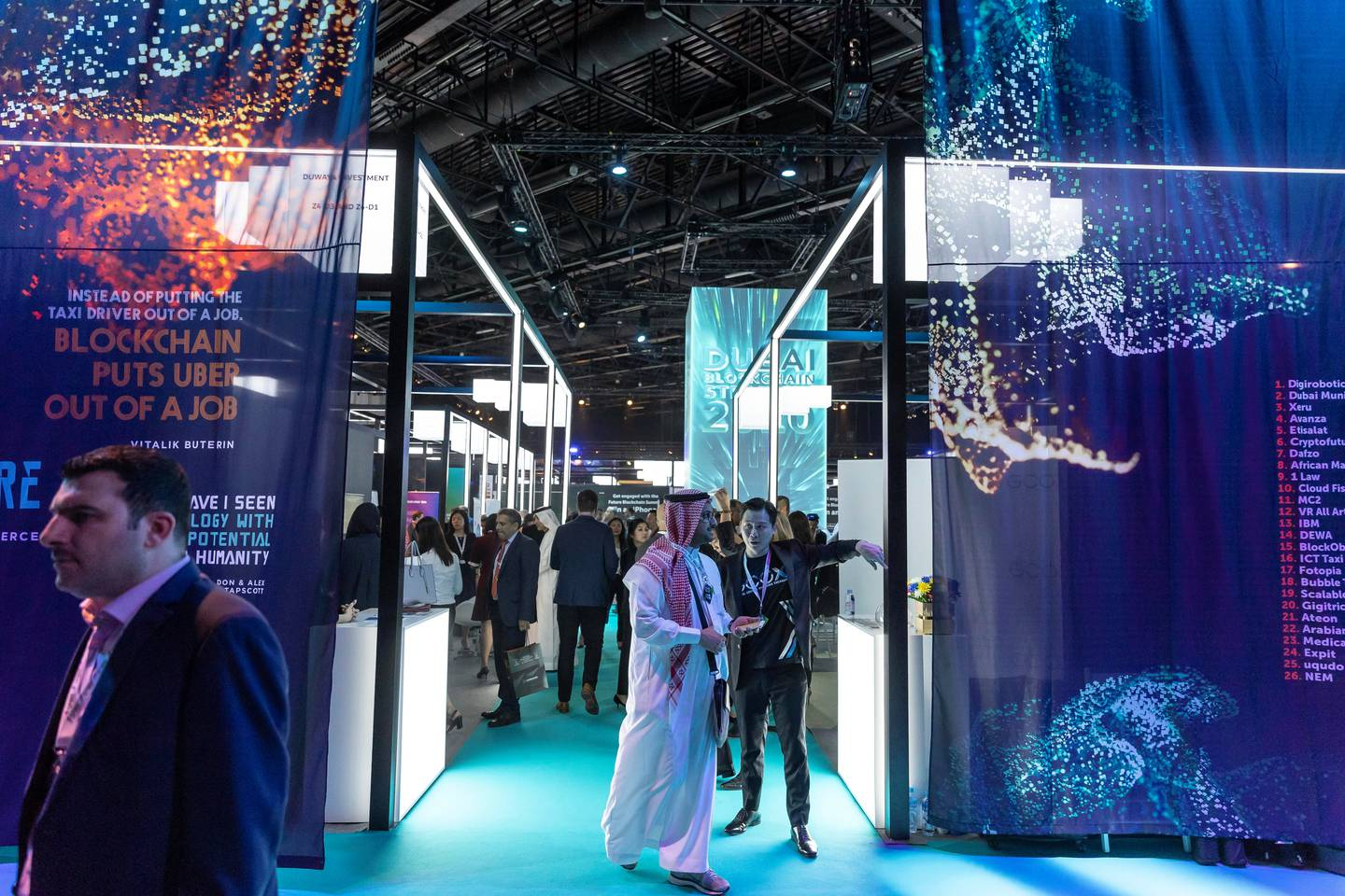 DUBAI, UNITED ARAB EMIRATES. 02 MAY 2018. General show floor images of the Future Blockchain Summit held at the Trade Center. (Photo: Antonie Robertson/The National) Journalist: Sarmad Khan. Section: Business.