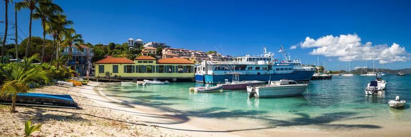 U.S. Virgin Islands, St. John, Cruz Bay, town waterfront