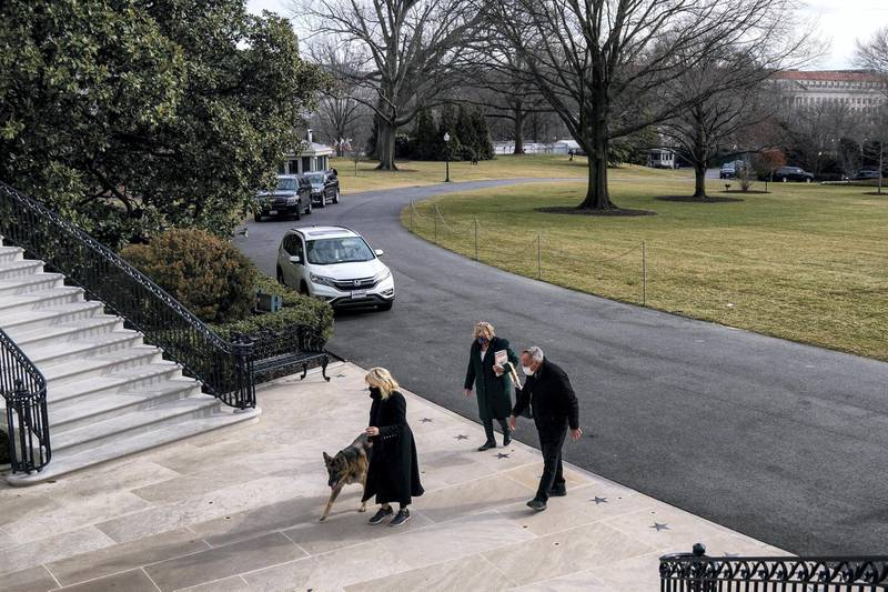 U.S. First Lady Jill Biden guides one of the family dogs, Champ, on his arrival from Delaware at the White House in Washington, U.S. January 24, 2021. Picture taken January 24, 2021. Adam Schultz/White House/Handout via REUTERS.    THIS IMAGE HAS BEEN SUPPLIED BY A THIRD PARTY. MANDATORY CREDIT