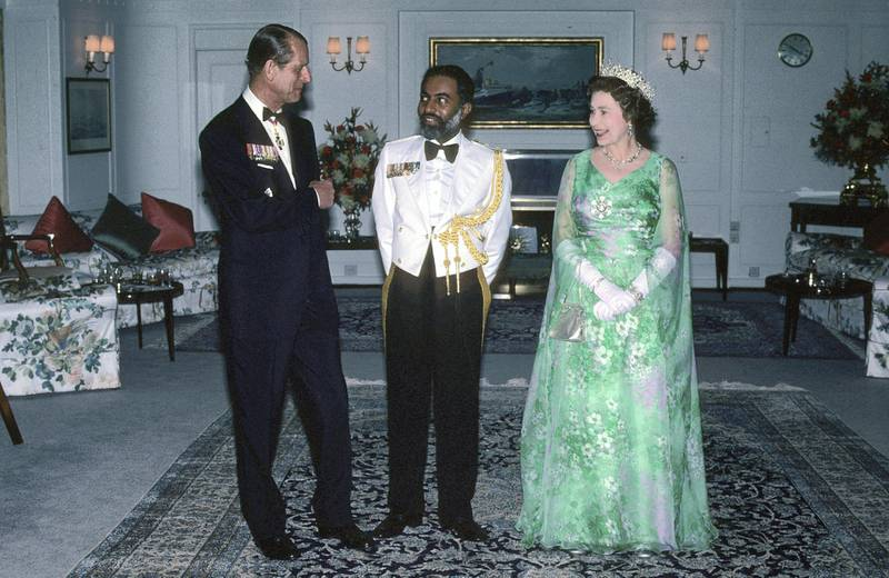 MUSCAT, OMAN - FEBRUARY 29:  Queen Elizabeth ll and Prince Philip, Duke of Edinburgh entertain Sultan Qaboos on board the royal Yacht Britannia during a State Visit to Oman on February 29, 1979 in Muscat, Oman. (Photo by Anwar Hussein/Getty Images)