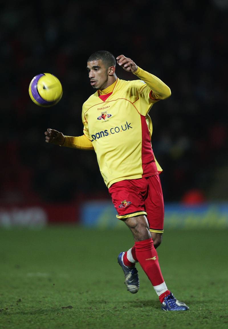 WATFORD, UNITED KINGDOM - FEBRUARY 21:  Hameur Bouazza of Watford in action during the Barclays Premiership match between Watford and Wigan Athletic at Vicarage Road on February 21, 2007 in Watford, England.  (Photo by Tom Shaw/Getty Images)