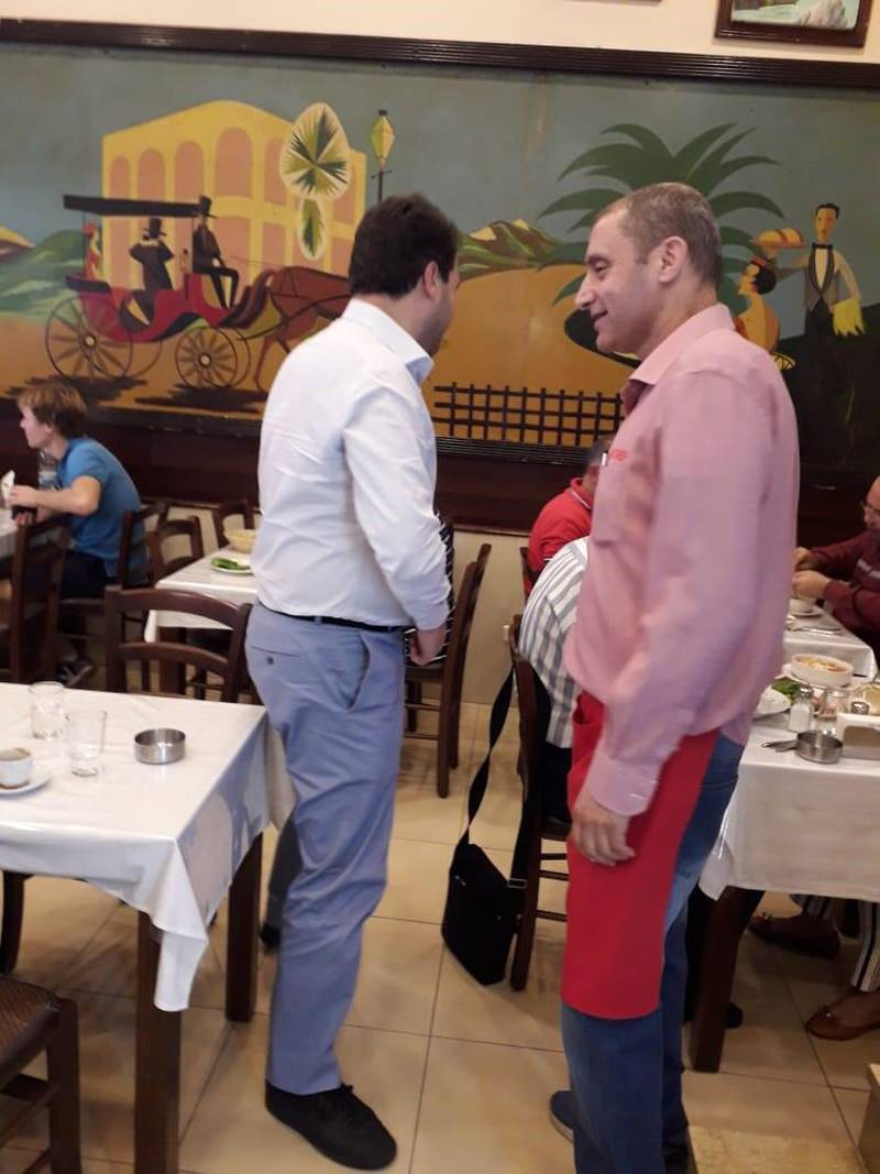 Le Chef owner Charbel Bassil, right, at the restaurant. Photo CREDIT: Le Chef